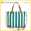 Wholesale Vertical Stripe Blank Shoulder Fashion Canvas Bag With Leather Handles