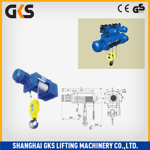 CD/MD trolley electric wire rope pulling hoist/wire rope motor hoist CE GS Certification