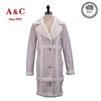 Qualitied Ladies' Winter Ice Cream Color Sexy Faux suede Long Jacket