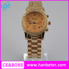 Mens watches top brand geneva rose tone dropshipping watch