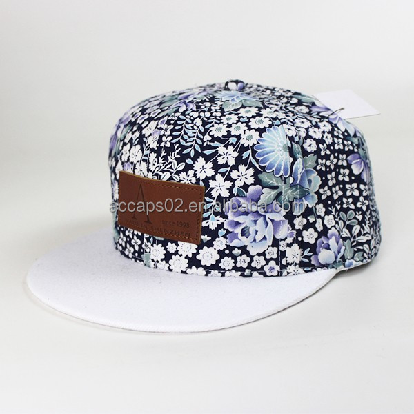 Custom leather patch logo floral pattern strap snapback <strong>hats</strong> wholesale