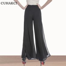 CUHAKCI Women Chiffon Palazzo Wide leg Pants High Waist Lady Loose Side Split Straight Slim Trousers