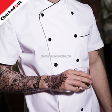 High quality short sleeve double breasted cooking uniform restaurant chef uniform