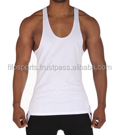 Classic mens Gym Stringer Tank Top Royal Blue 100% cotton with screen printing for gym fans