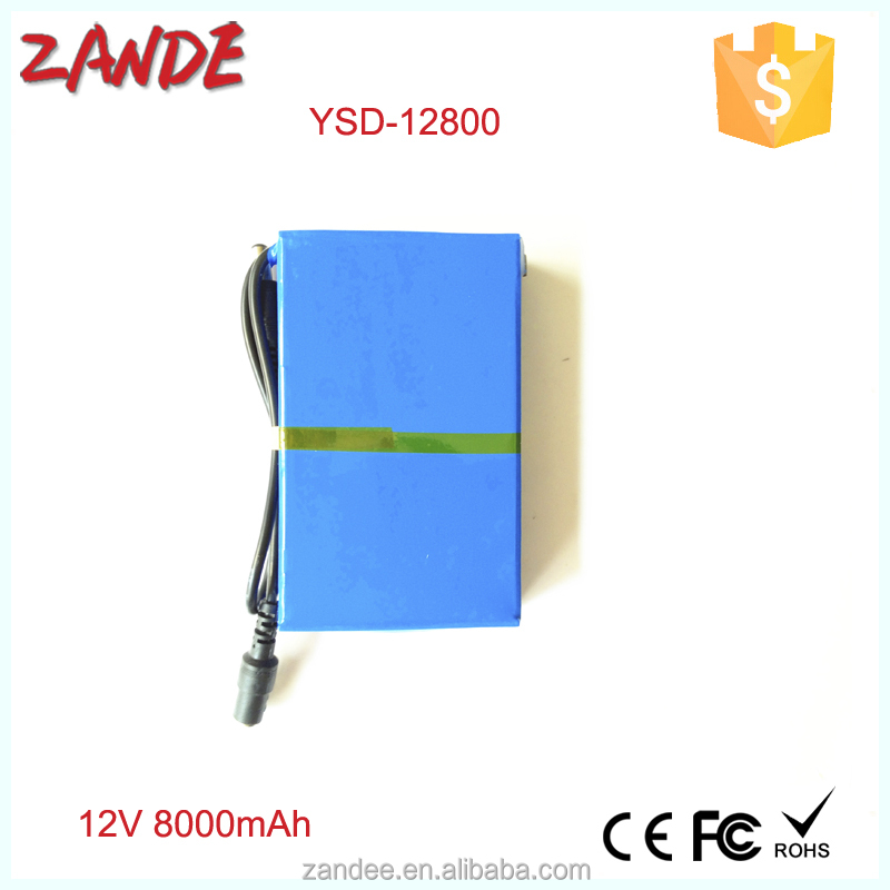 China supplier Portable DC 12V Li-Ion rechargeable battery 8000mah for solar panel,CCTV Camera