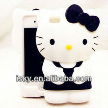 Warehouse Price Cute Cartoon Silicone 3d Hello Kitty Case/cover/protector for iPhone 4 4S Fits All Models of Iphone 4 & 4s