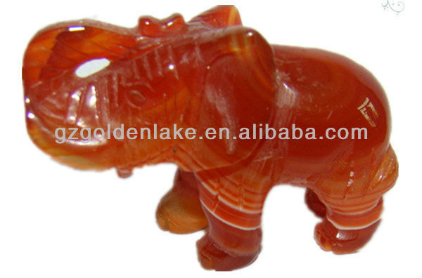 Gemstone Red agate carving carved elephant