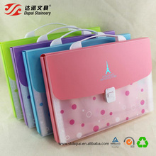 Cute A4 size PP durable portable plastic lock expanding file folder with box