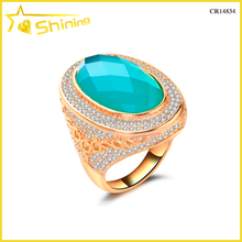 2016 new fashion turquoise gemstone big dubai gold rings
