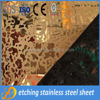 Decorative etched stainless steel sheet for elevator cabins