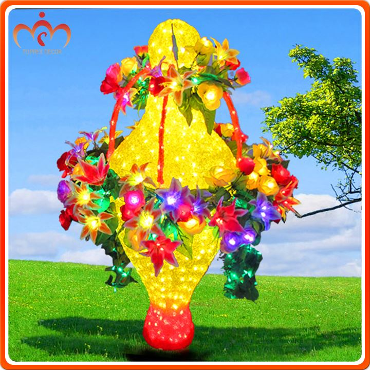 New design Import led chip flower basket stem lights