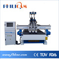 pneumatic tool change Three Head cnc router for furnitrue carving