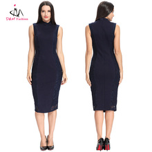 Latest Plus Size Elegant Western Style Lace Patchwork Pattern Women Career Office Lady Midi Bodycon Pencil Formal Dress