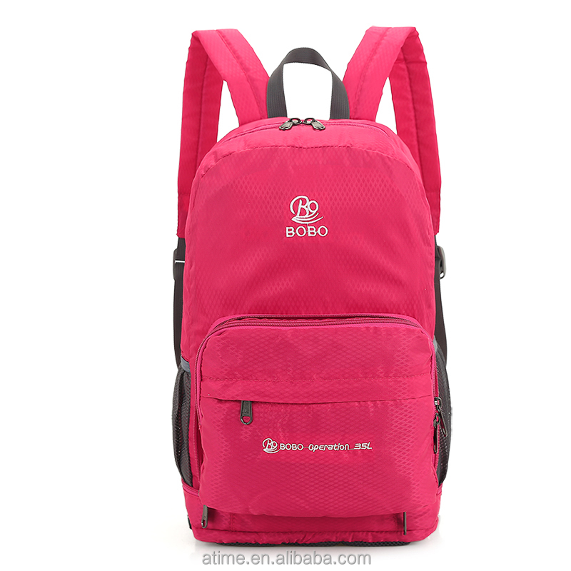 Promotional Foldable backpack Foldable Travelling Handy Lightweight Backpacks with waist bag function