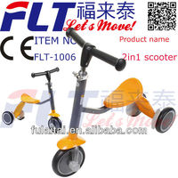 2013 hot selling 2 in 1 scooter strong steel FLT-1006 seat kick scooter with EVA wheel