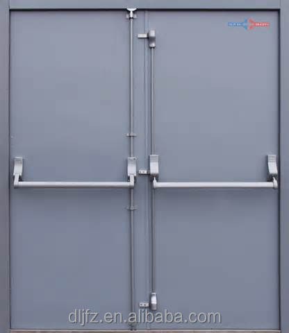 Cold roller steel fire rated door double sash grey color