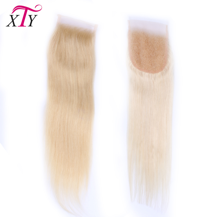 Wholesale Virgin Human Hair Straight Invisible Part Lace Closure 4x4 5x5 6x6, Blonde Hair Bundles With Lace Closure