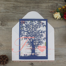 Special Design Navy Blue Rustic Laser Cut Tree Wedding Invitation