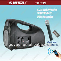 TK-T39 5.25 inch USB/SD/FM/Bluetooth/Recording portable digital speaker with VHF mics