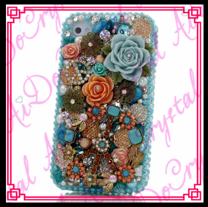 Aidocrystal handmade blue crystal rhinestone flower bling bling case for samsung galaxy j3