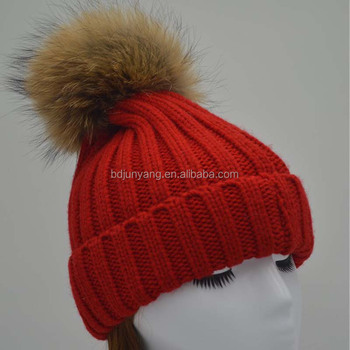 Big fur ball beanie hat with snap for women