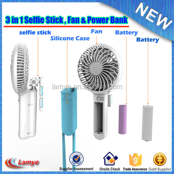 Best Selling Products in Europe Outdoor Cooler Fan with Selfie Stick and Power Bank Good Retail Items