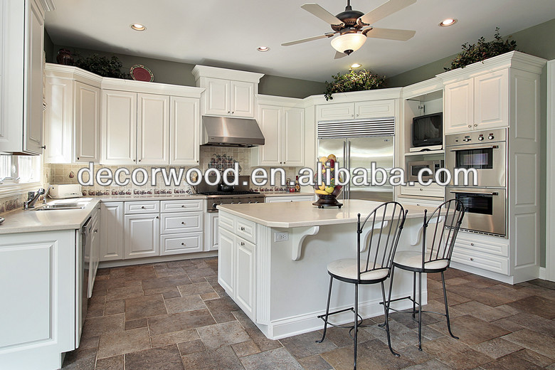 French Style Luxury White Kitchen Cabinet with Kitchen Island