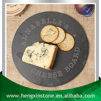 Factory Direct Sales Wholesale Cut Edge Dia24*0.5cm Round Black Slate Cheese Tray With Laser Design(Customized)