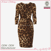 Lady sexy party/formal wear tigth fit big v-neck sexy leopard printed wrapped woman club dress