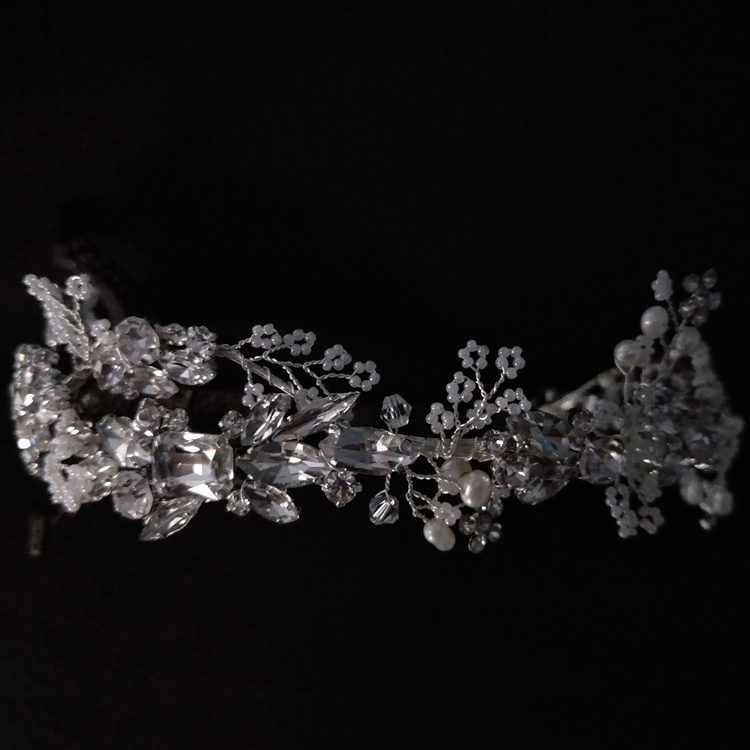 Rhinestone Bridal Headband Tiara Crown Boho Beads Delicate Crystal Hair Crown Wedding Women Headpiece Hair Accessories