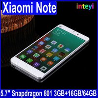 New Arrival Xiaomi Mi Note 64GB 5.7'' 1080P 4G FDD-LTE Mobile Phone Quad Core Snapdragon 801 3GB RAM MIUI 6 HiFi Smartphone