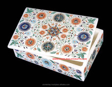 White Exclusive Marble Box, Inlaid Stone Box