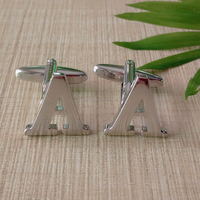 Nickel Plated Letter A Cufflinks
