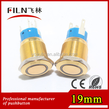 19mm dia plated gold flat round momentary waterproof 3v ring blue led push button