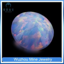 man-made round shape white opal gem/ wholesale diamond cut white opal