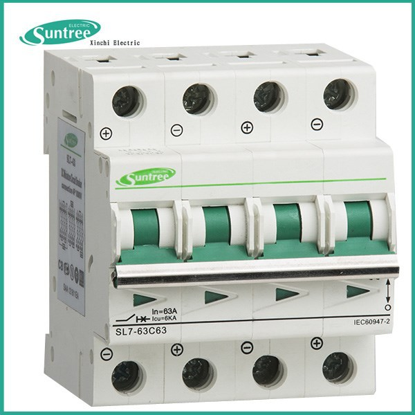 SAA TUV CB Solar PV Electric Single phase 3 Phase AC DC Miniature Circuit Breaker MCB 1P 2P 3P 4P 1A~63A