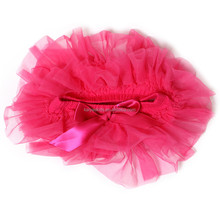 hot pink organic cotton baby daily underwear with chiffon ruffles around and satin bow
