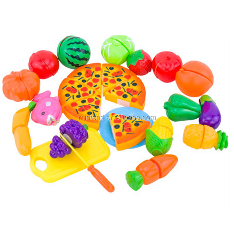 24 Pcs/ Set Kids Kitchen set Toys Plastic Fruit Vegetable Kitchen Cutting Toys Early Development Education Toy for Kids