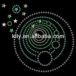 rhinestone iron on pattern of planets