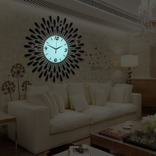 china suppliers commercial exquisite classy black round night light wall clock