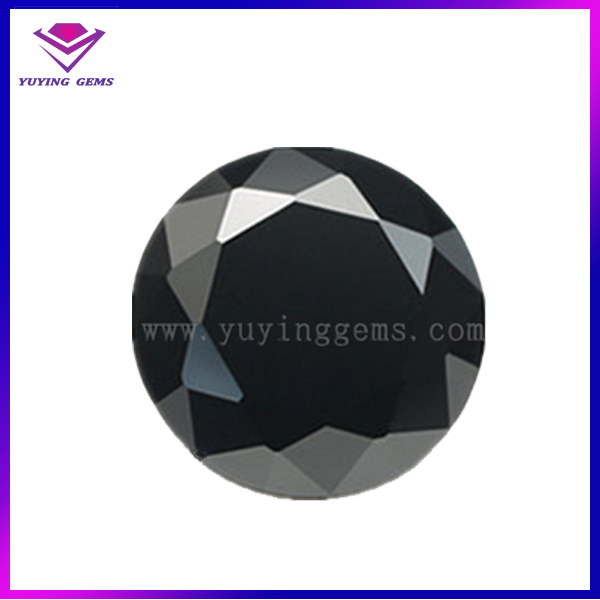 Loose Natural Diamond Cut Round Shaped Black Spinel Gemstone