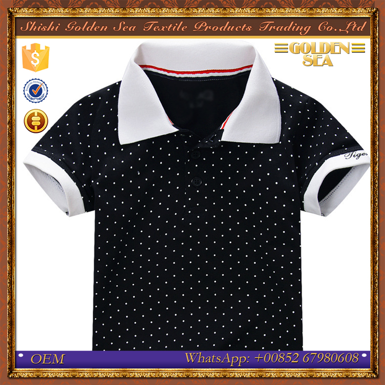custom wave dot pattern summer boys polo shirt design