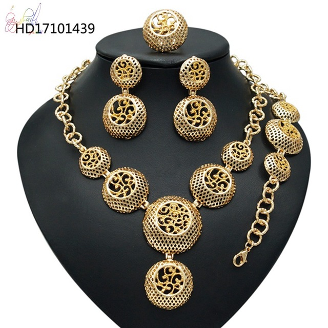 Gold Plated Jewelry Fashion Kundan Jewellery Sets Wholesale 22K Indian Necklace Earrings