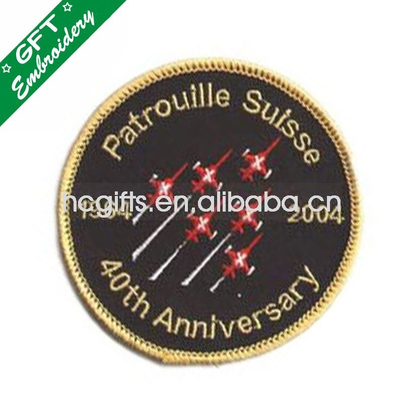 Hot sale  customized round  patches with woven embroidery badge