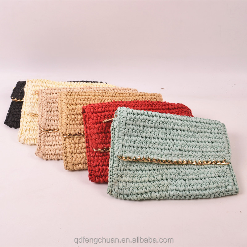 Alibaba China wholesale cheap purse lady fanhion paper straw Cosmetic bag