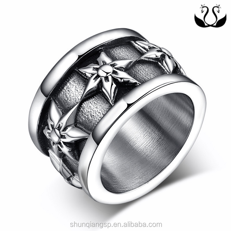 2016 Lost Wax Casting Titanium Silver 316l Stainless Steel rings for Man