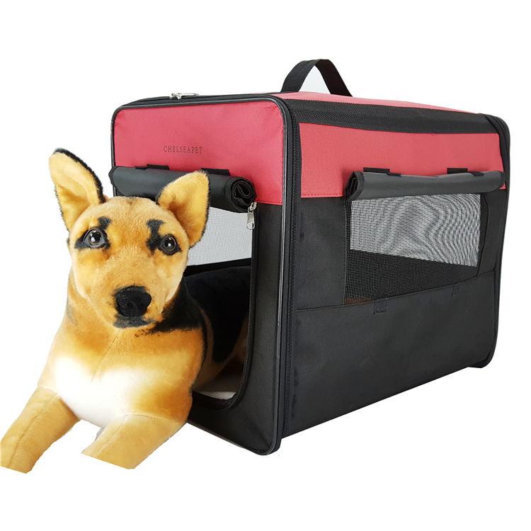 Foldable expandable pet carrier dog bag cat cages big soft fleece blanket stainless steel dog cage