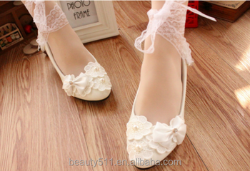 White bow lace with bridesmaid dresses shoes wedding shoes party shoes WS038
