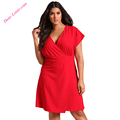 Red Deep V Neck Flared Sexy Mini Girls Plus Size Dress