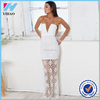 YiHao 2015 Fashion New hand made crochet dress maxi dress in white crochet sexy free prom dress